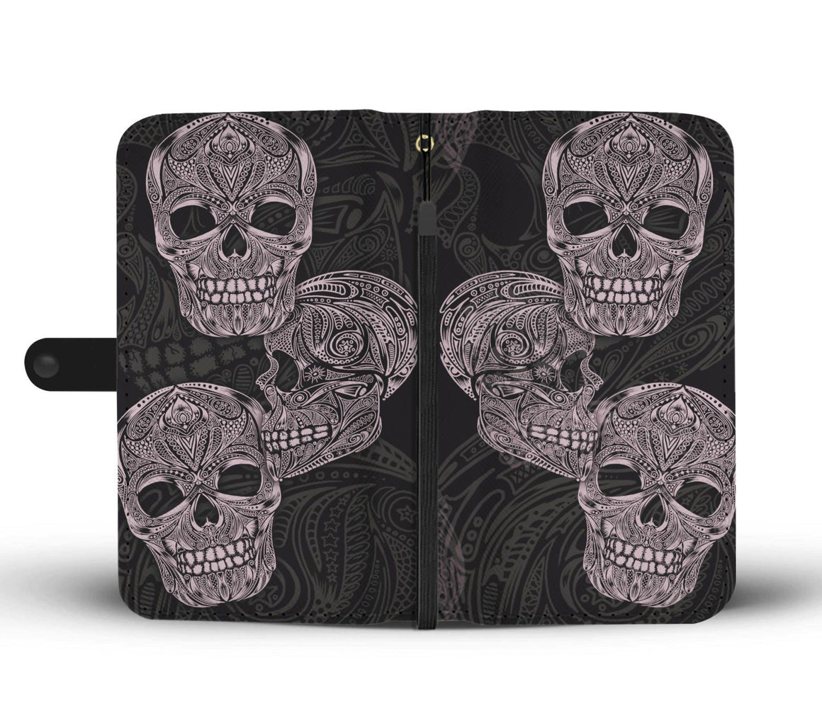 Hand Crafted Decorative Skull Wallet Case