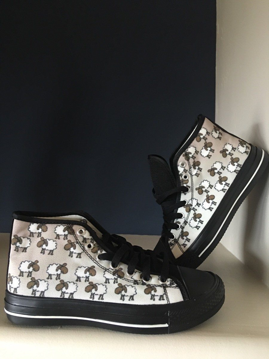 Women's Sheep Print Black High Tops Shoes