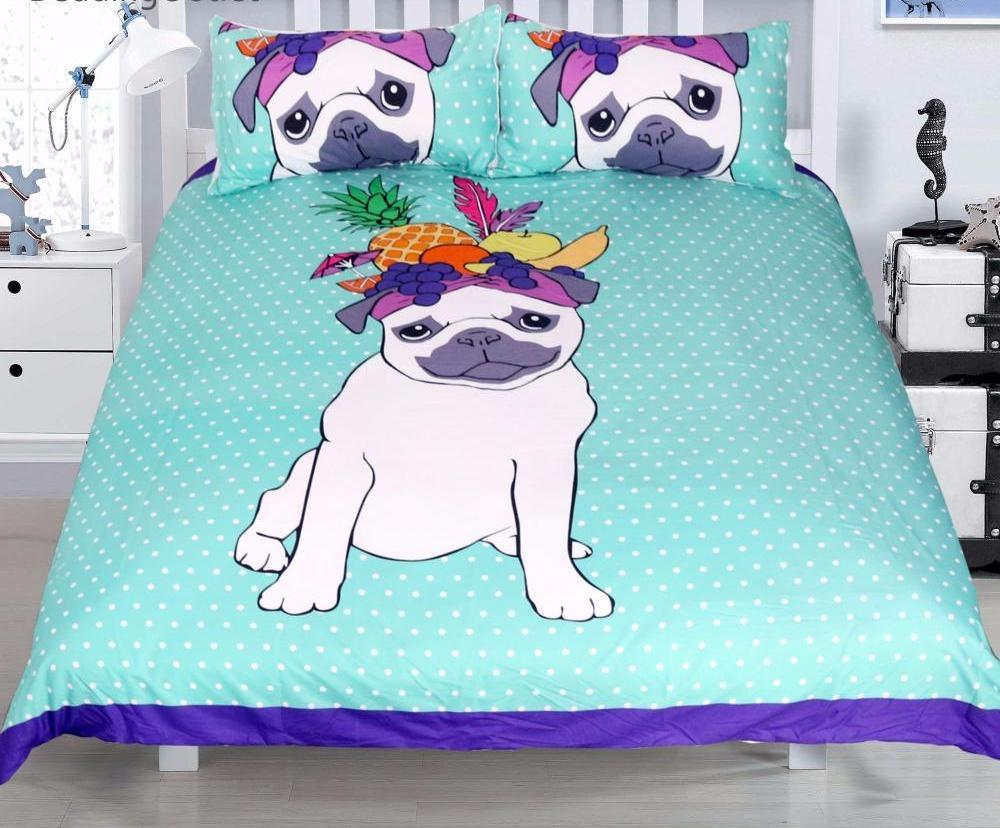 Pug Dog Themed Bedding Sets (Includes Duvet Cover, Twin/Queen/King Size Bed Sheet & 2 Pillow Covers)