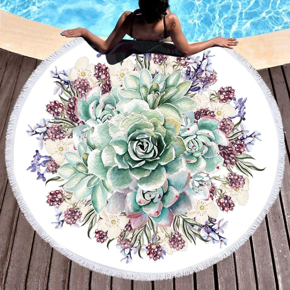 Green Floral Large Round Beach Towel