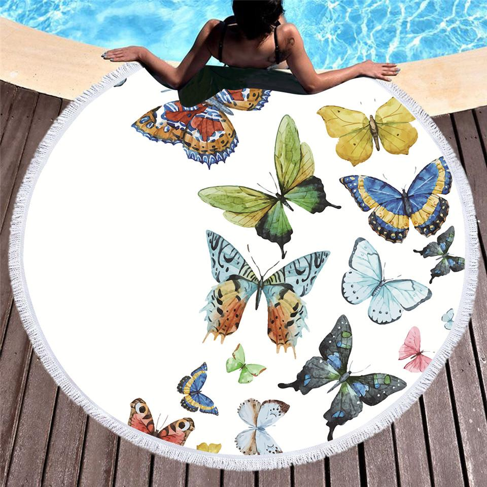 Summer Butterfly Round Beach Towel