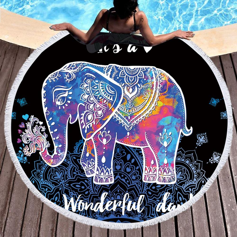 Colorful Mandala Elephant Round Beach Towel