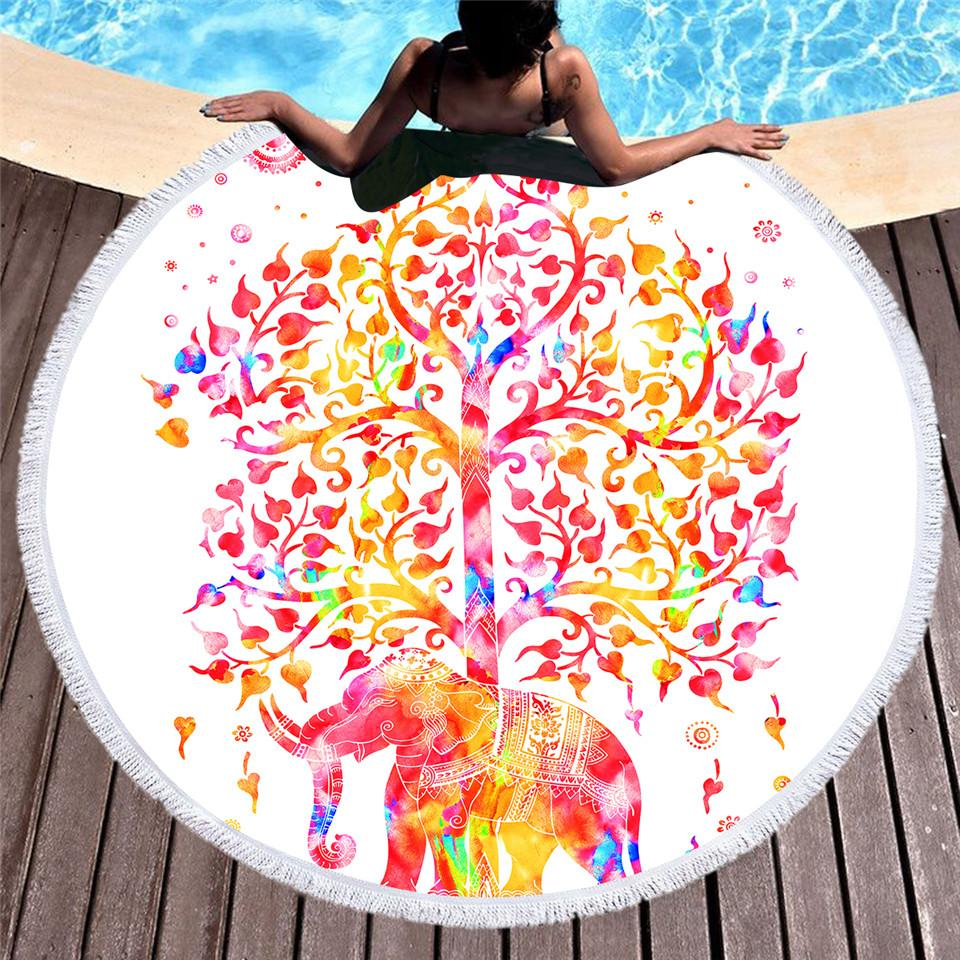 Colored Elephant Round Beach Towel