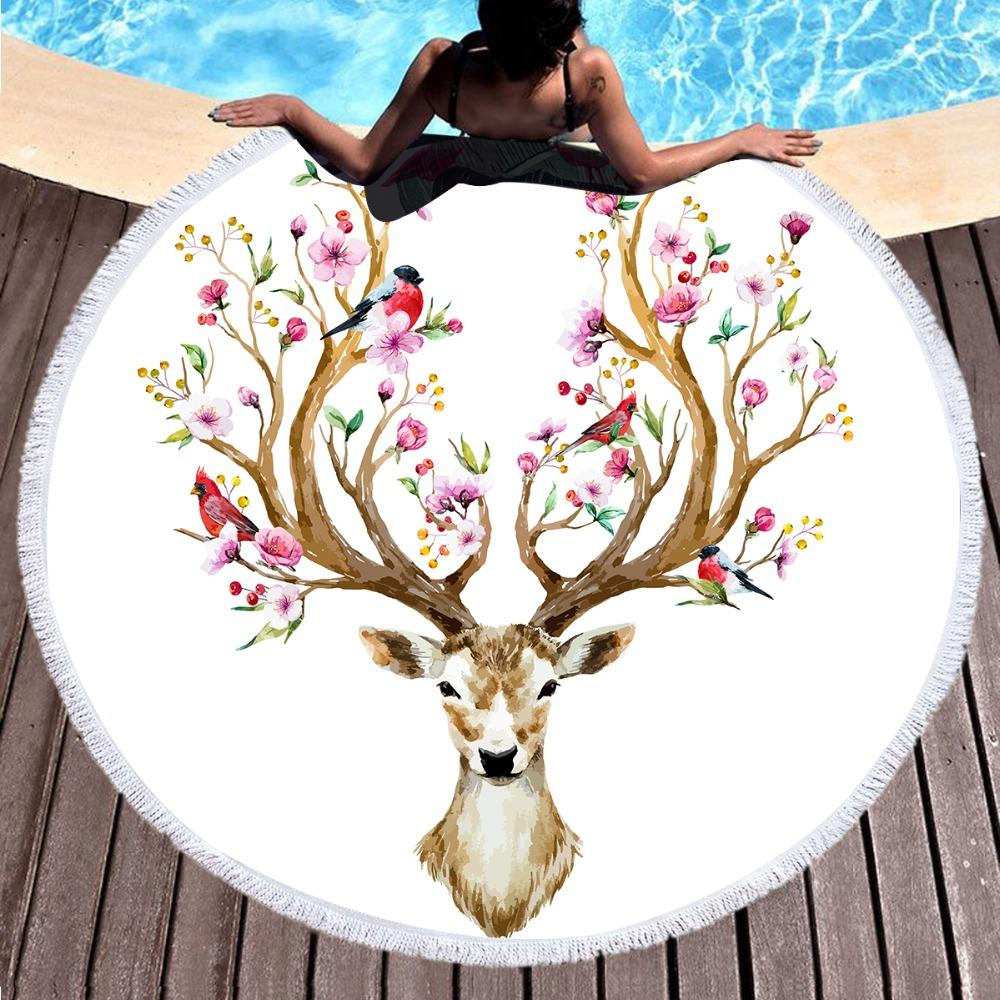 Floral Deer Round Beach Towel