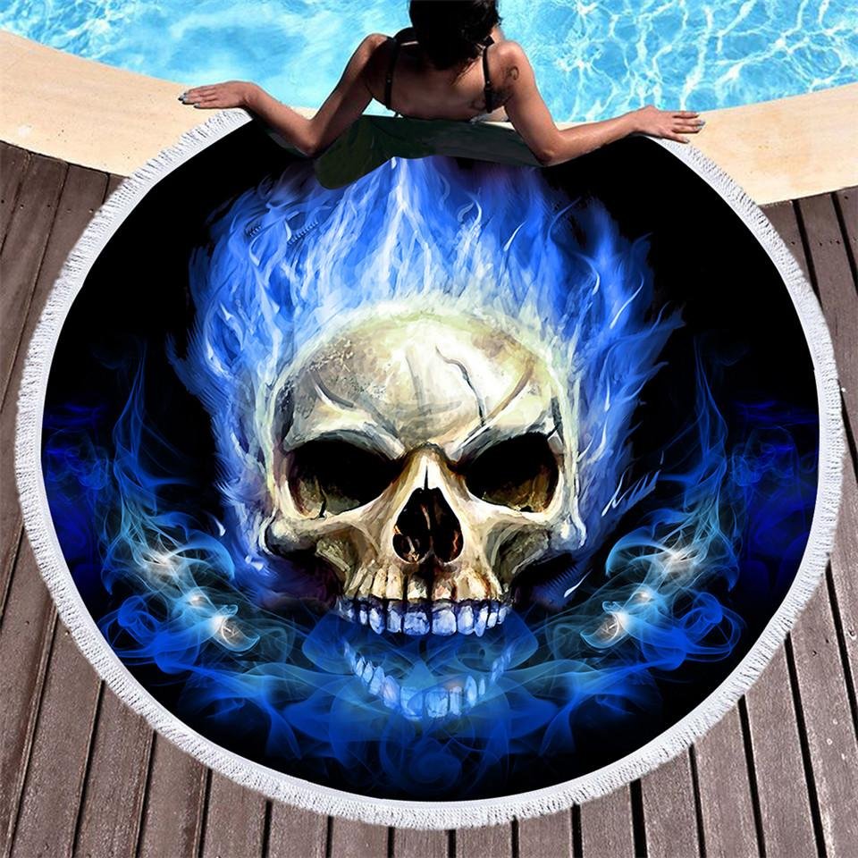 Flaming Skull Round Beach Towel