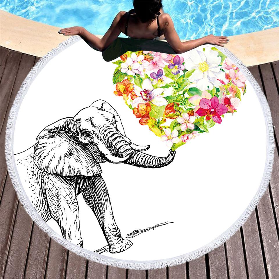 Floral Heart Elephant Round Beach Towel