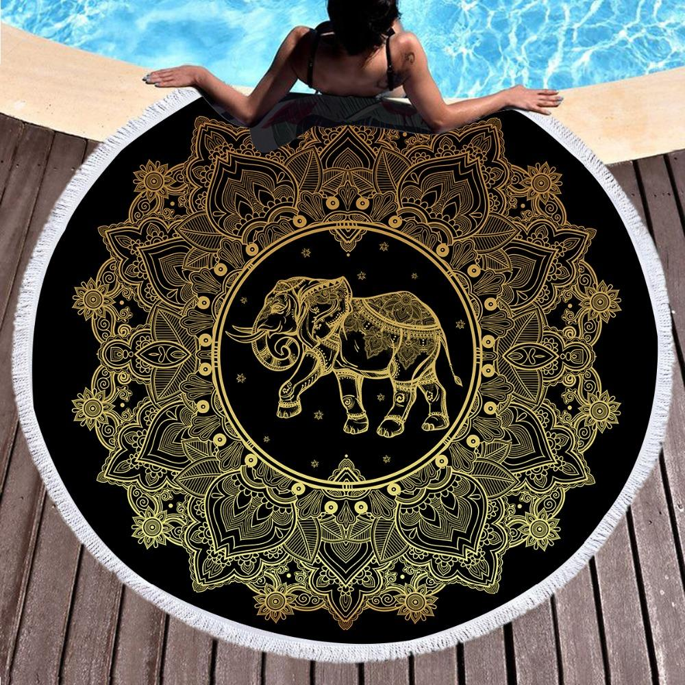 Gold Elephant Mandala Round Beach Towel