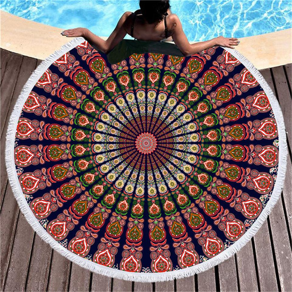 Boho Fan Mandala Round Beach Towel