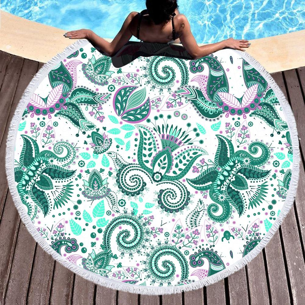 Green Summer Paisley Round Beach Towel