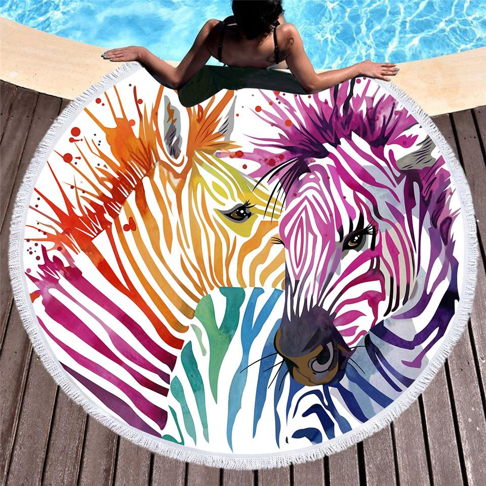 Watercolor Zebra Round Beach Towel