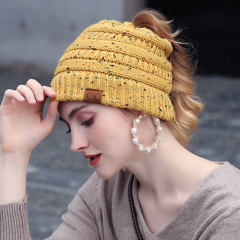 Knitted Dotted Ponytail Beanie Cap