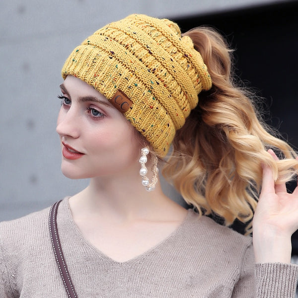 4f8538c78 Knitted Dotted Ponytail Beanie Cap