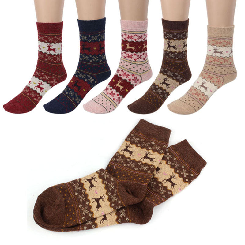 Christmas Deer Winter Knit Wool Socks For Women