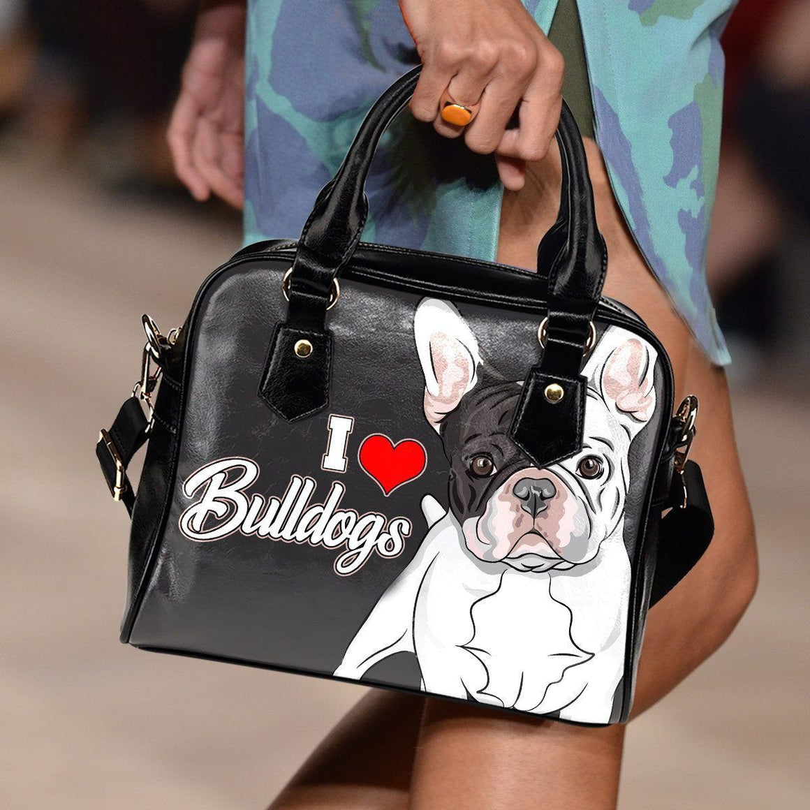 I Love Bulldogs Shoulder Bag
