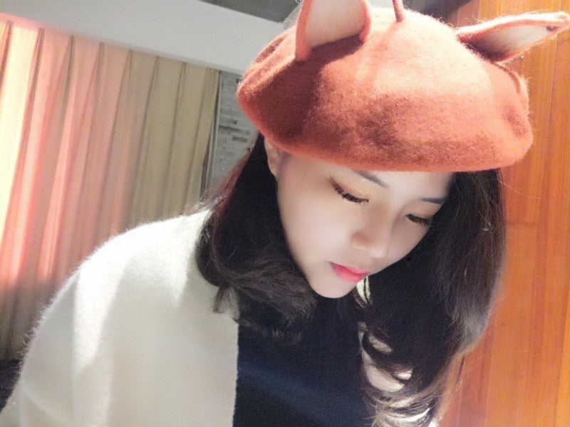 Cute Fox Ears Warm Winter Beret