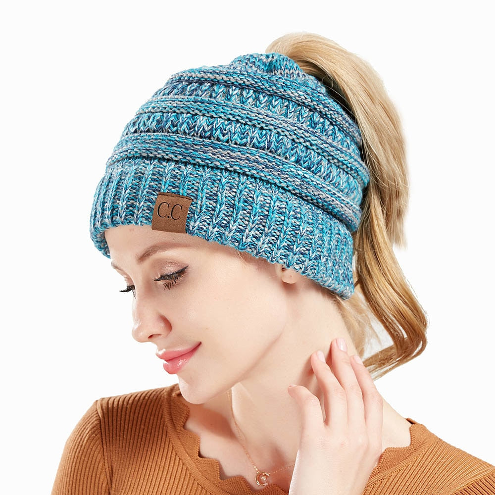Knitted Multicolored Ponytail Winter Beanie