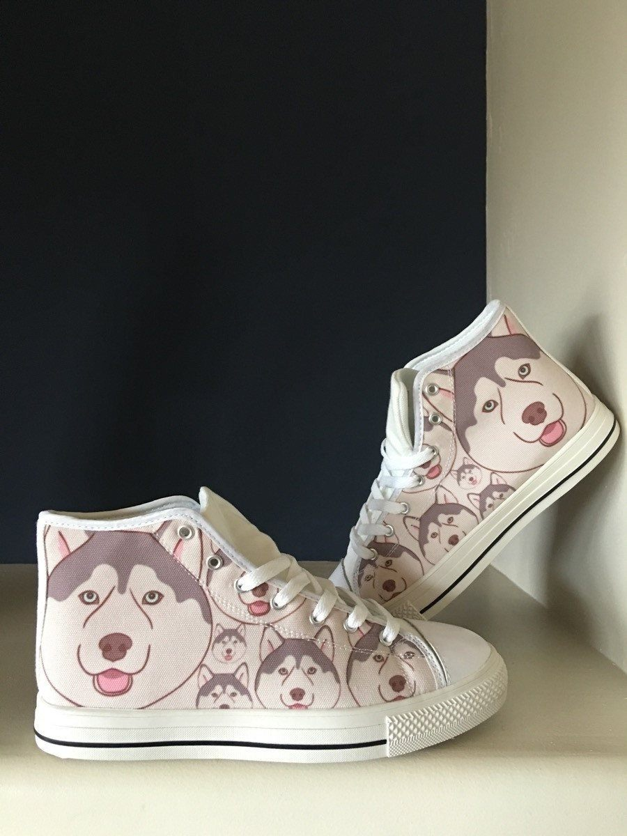Women's Husky Lover Print White High Tops Shoes