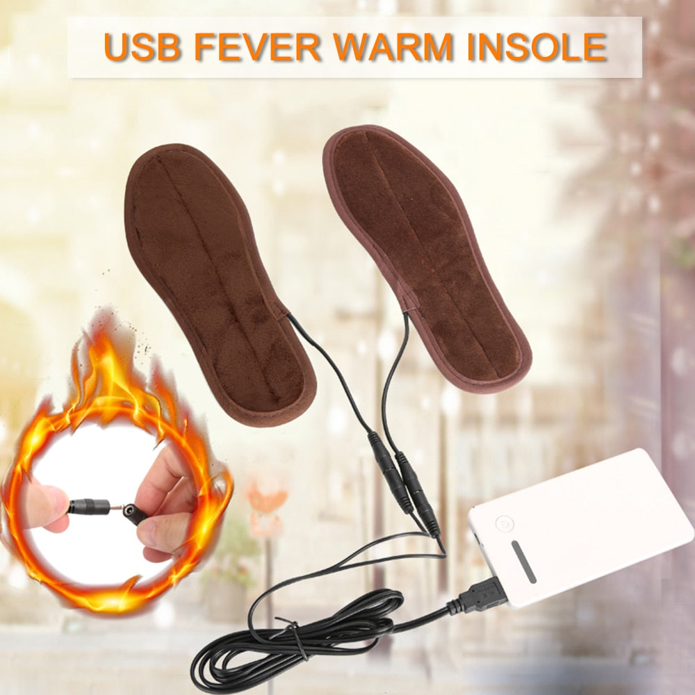 USB Powered Plush Fur Heating Insoles