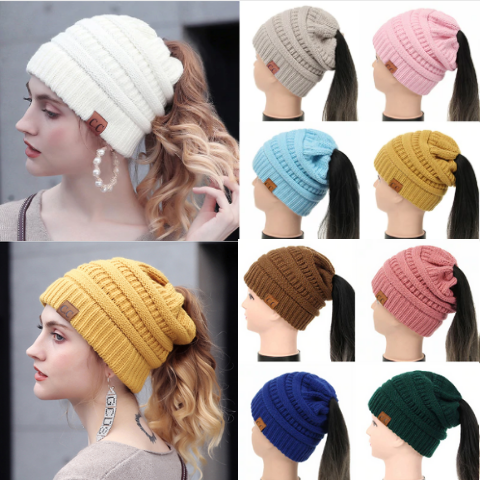 Knitted Ponytail Beanie Cap