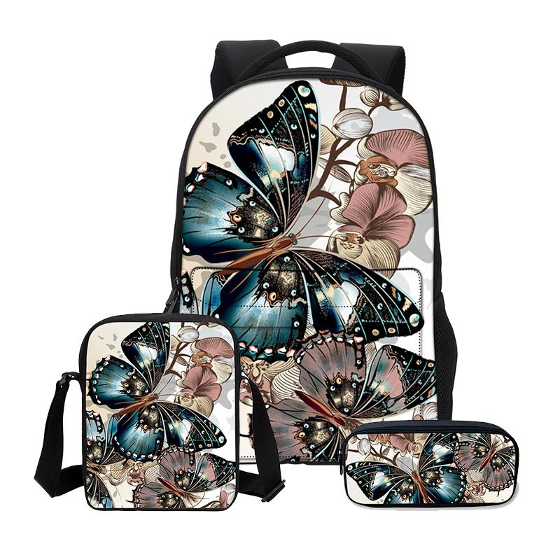 Butterfly Hand Stitched 3PC Bag Set
