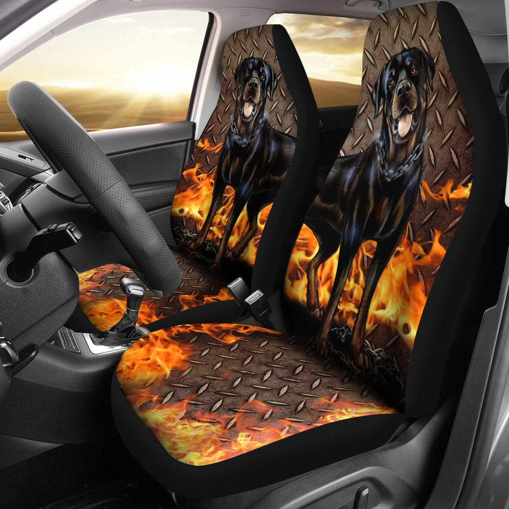 ROTTWEILER LOVE CAR SEAT COVERS SET OF 2
