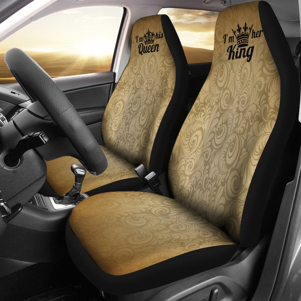 KING AND QUEEN CAR SEAT COVERS SET OF 2