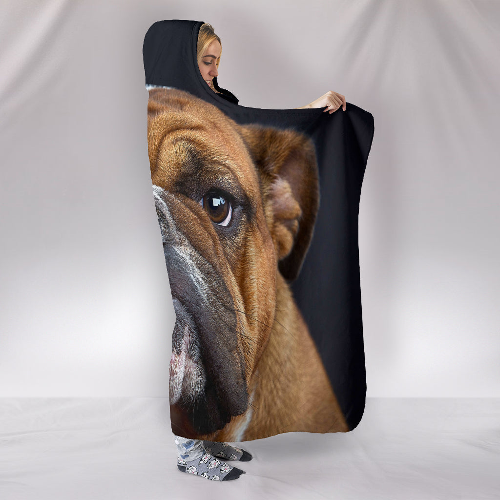 Bulldog Face Themed Hooded Blanket