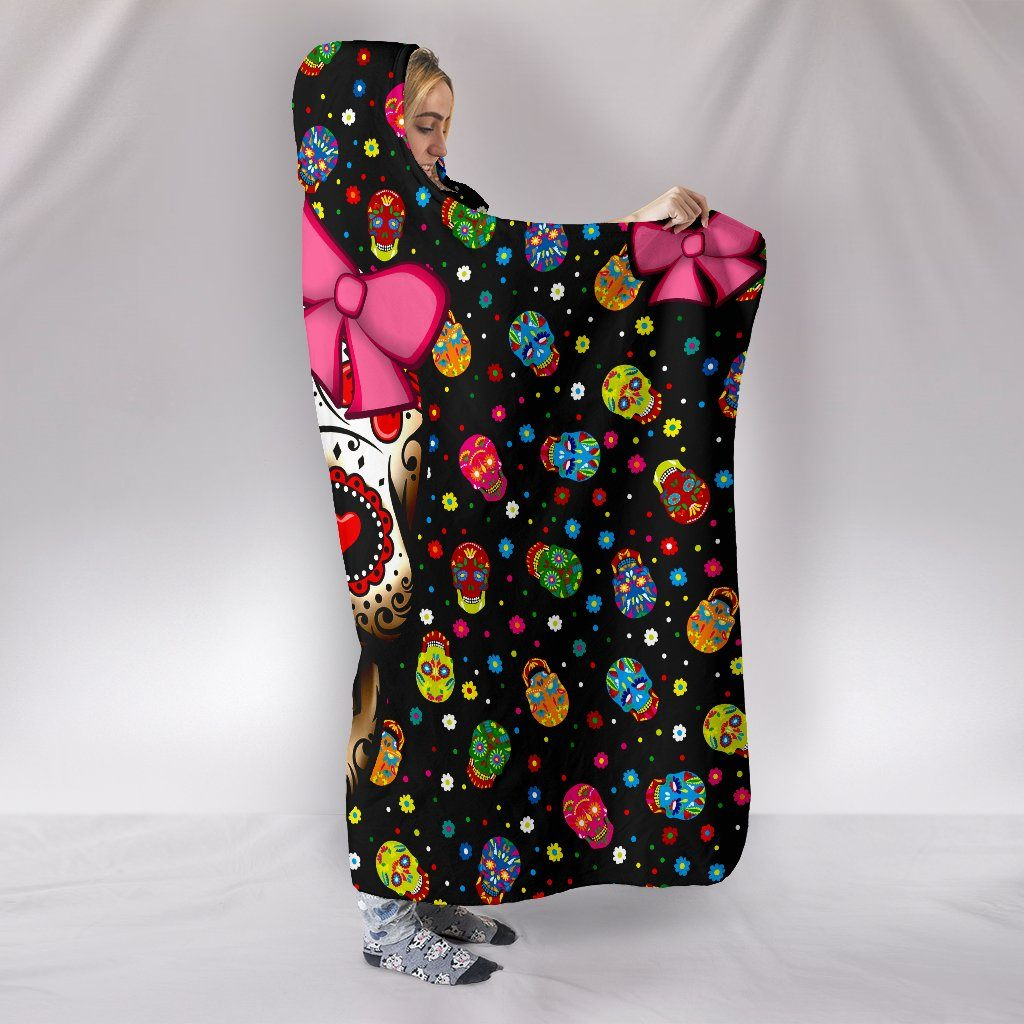 SUGAR SKULL RIBBON HOODED BLANKET