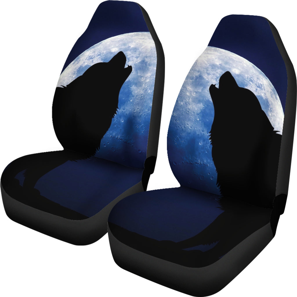 Wolf Howling Themed Car Seat Covers (SET OF 2)