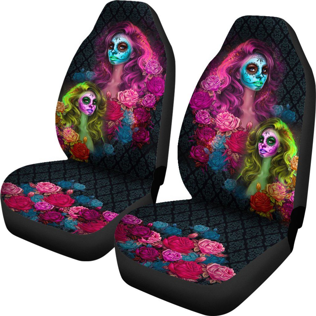 Calavera Themed Car Seat Covers (SET OF 2)