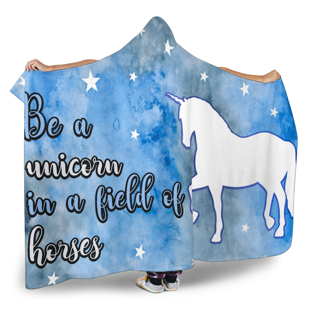 Be A Unicorn Themed Hooded Blanket
