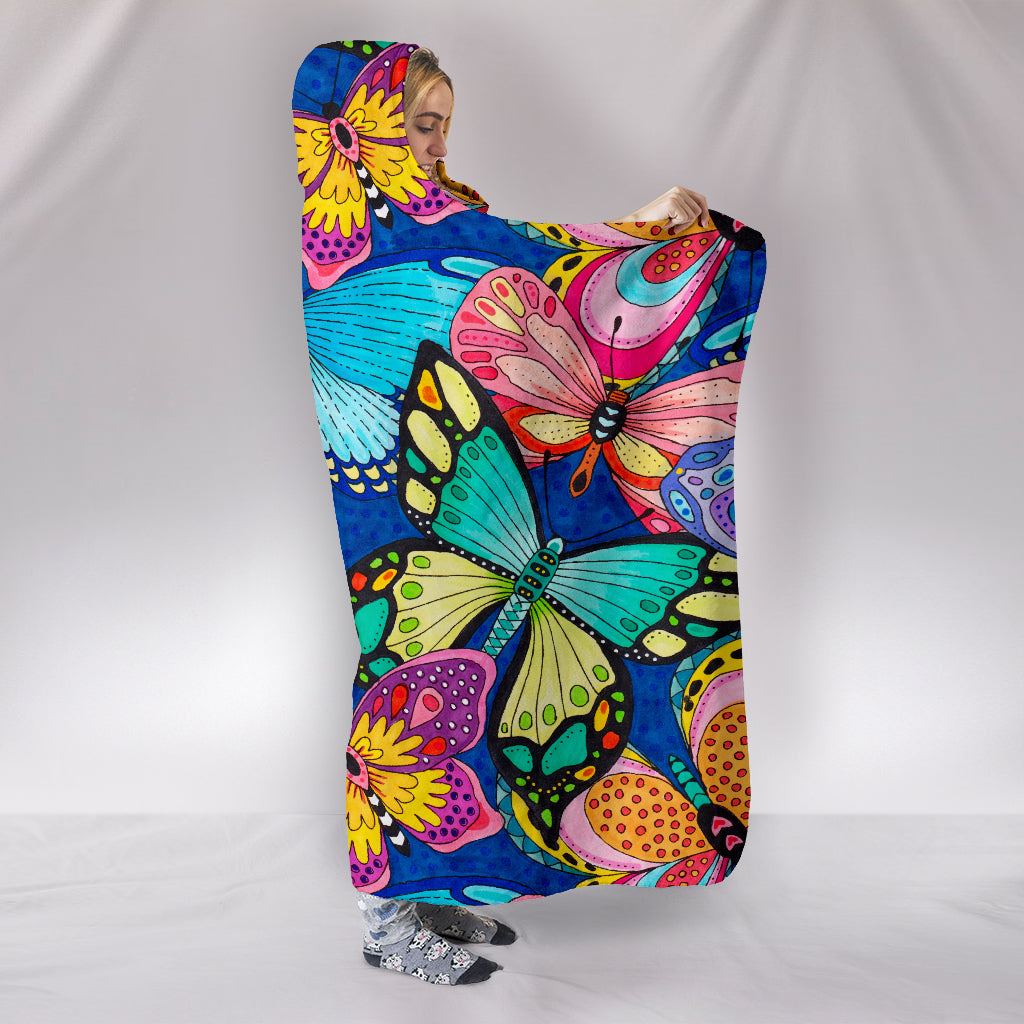 Butterflies Themed Hooded Blanket