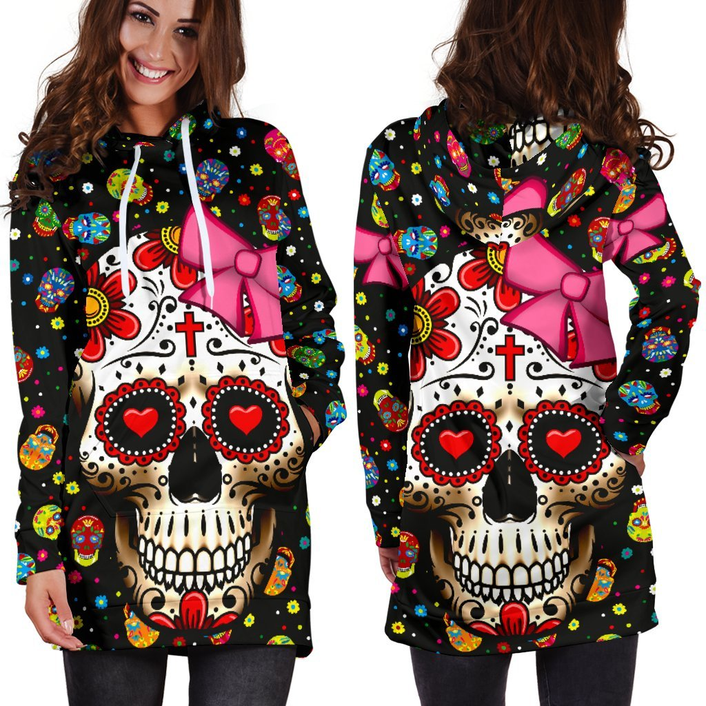 Sugar Skull Pink Ribbon Hoodie Dress  (Handmade Premium Quality)