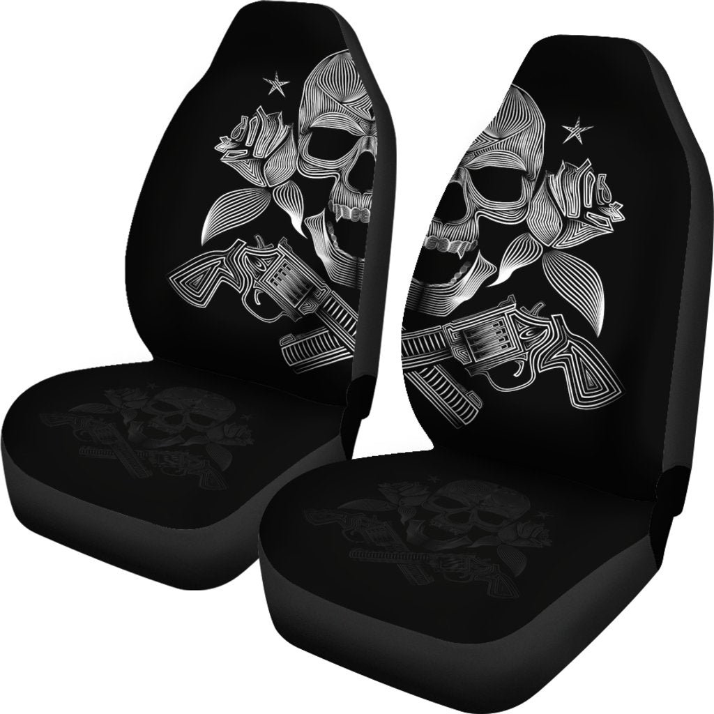 Pistol Skull Themed Car Seat Covers (SET OF 2)