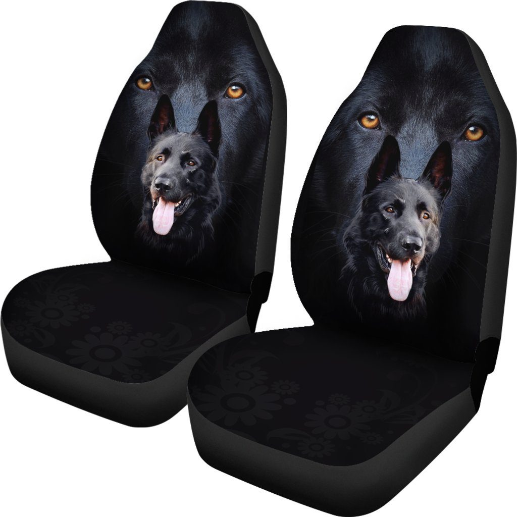 Black German Dog Shepherd Themed Car Seat Covers (SET OF 2)