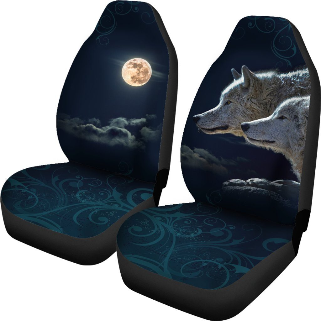 Wolf and Moon Themed Car Seat Covers (SET OF 2)