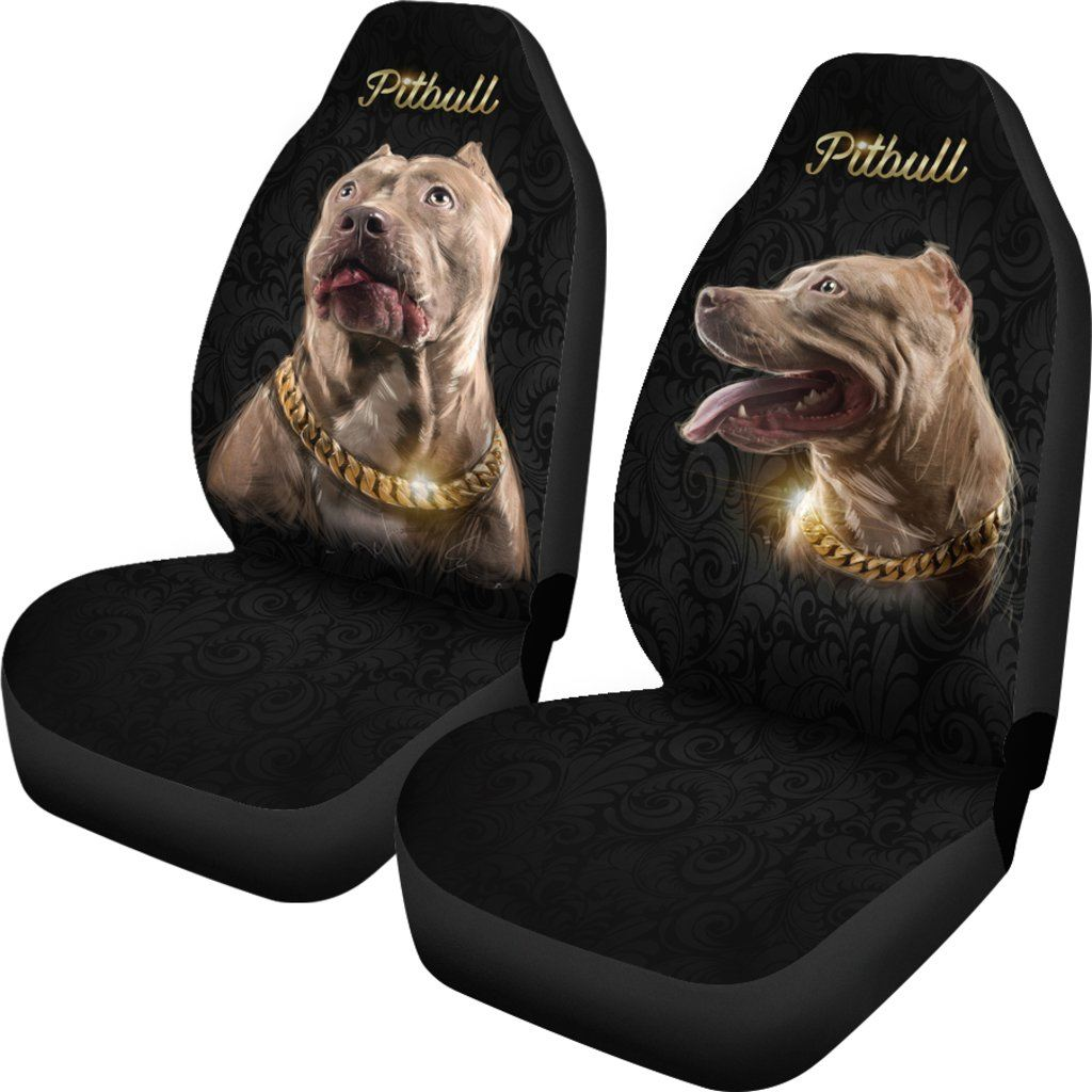 Pitbull Dog Love Themed Car Seat Covers (SET OF 2)