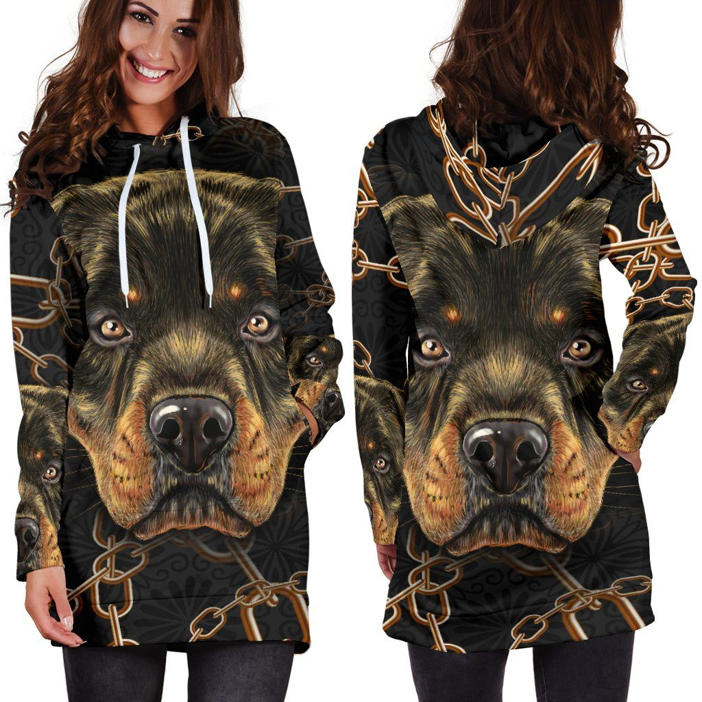 Rottweiler Love Hoodie Dress (Handmade Premium Quality)
