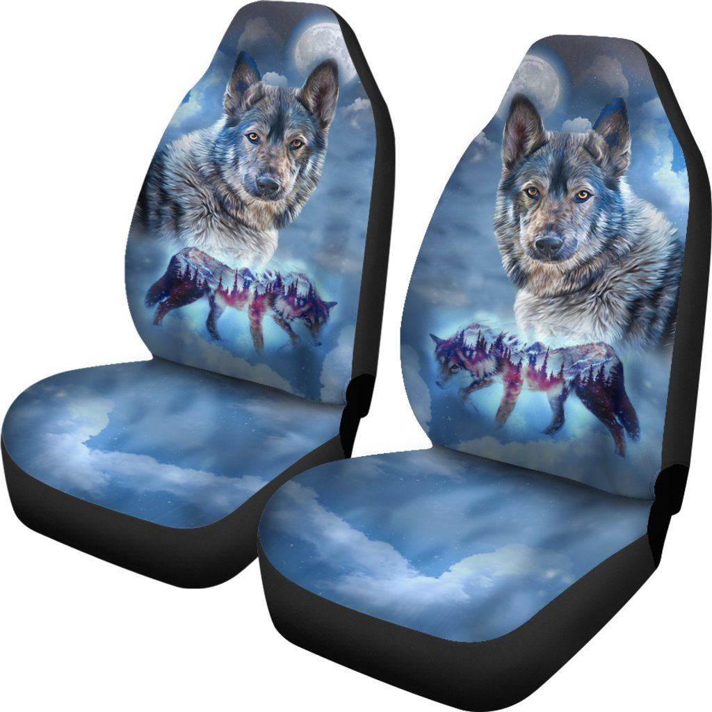Night Wolf Themed Car Seat Covers (SET OF 2)