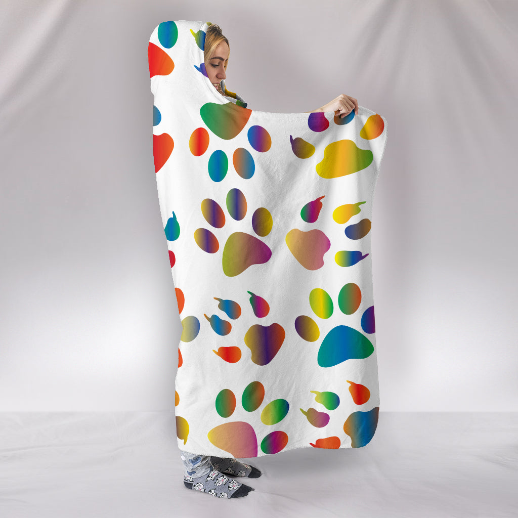 Colorful Paws Themed Hooded Blanket