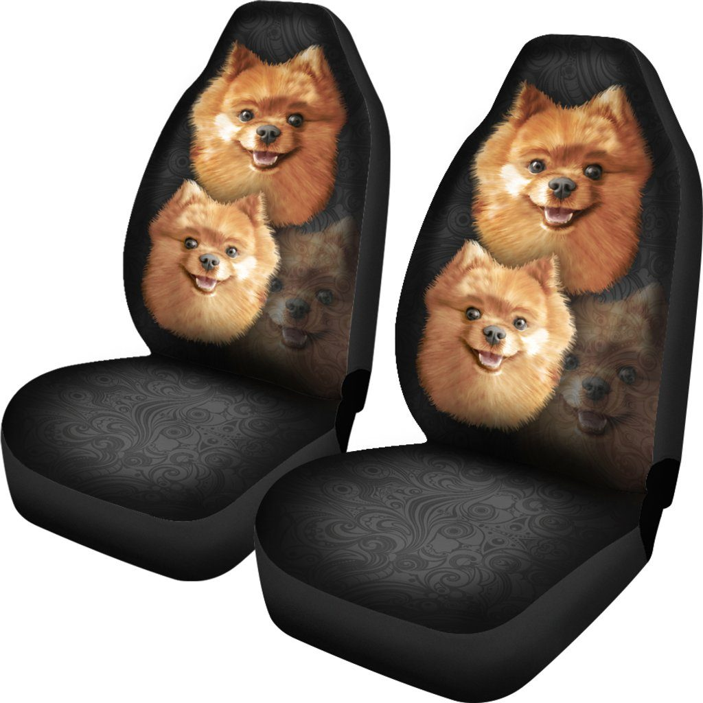 Pomeranian Dog Love Themed Car Seat Covers (SET OF 2)
