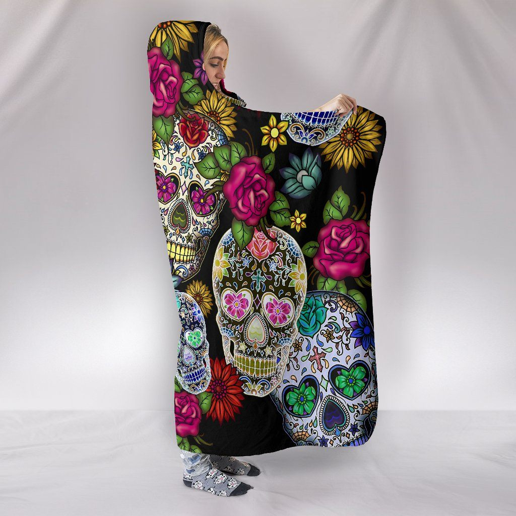 SUGAR SKULL HOODED BLANKET (PREMIUM QUALITY)