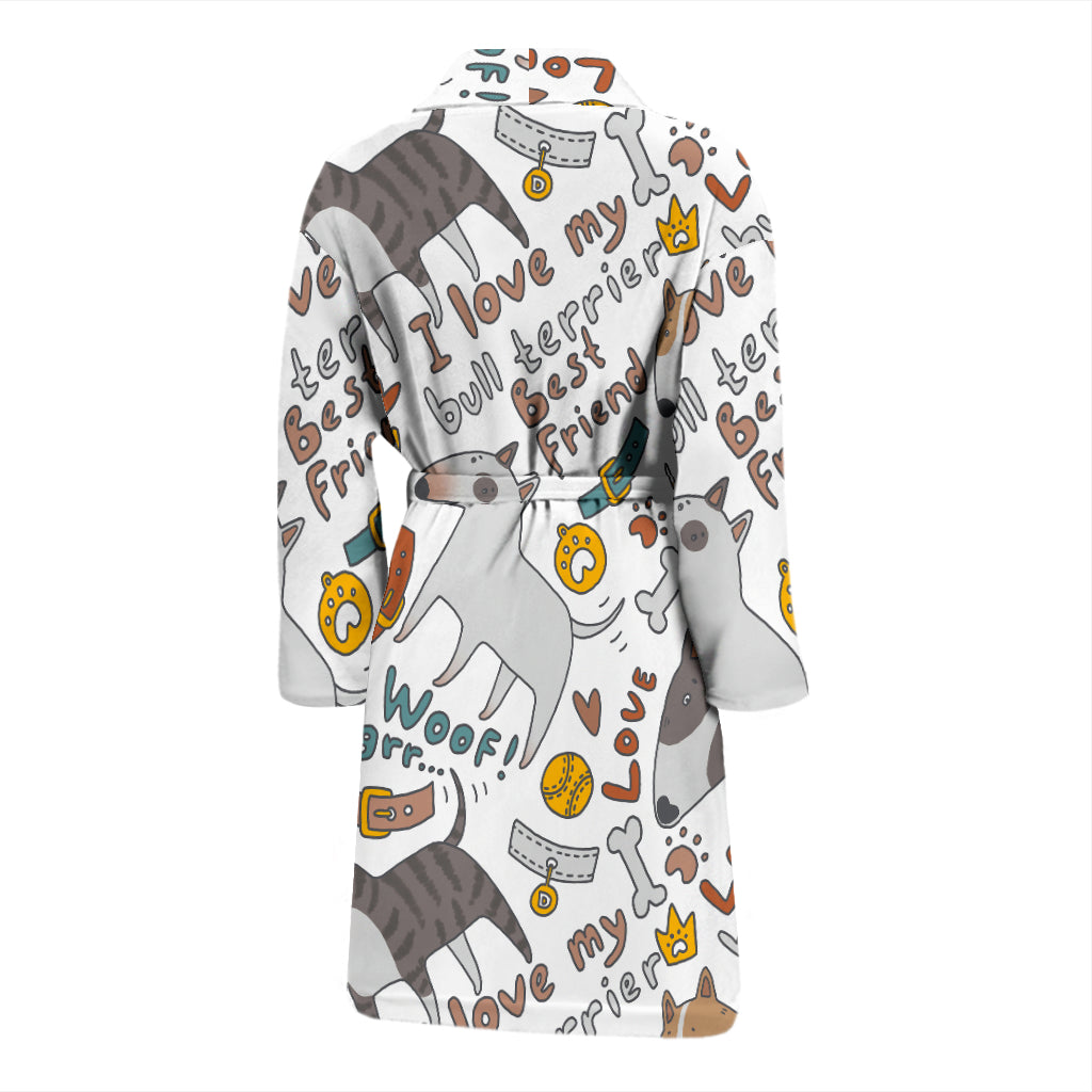 I Love My Bull Terrier Men's Bath Robe