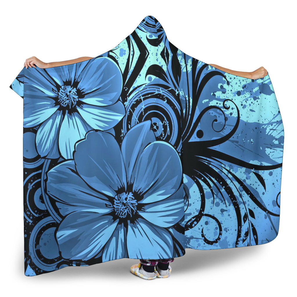 Blue Floral Themed Hooded Blanket