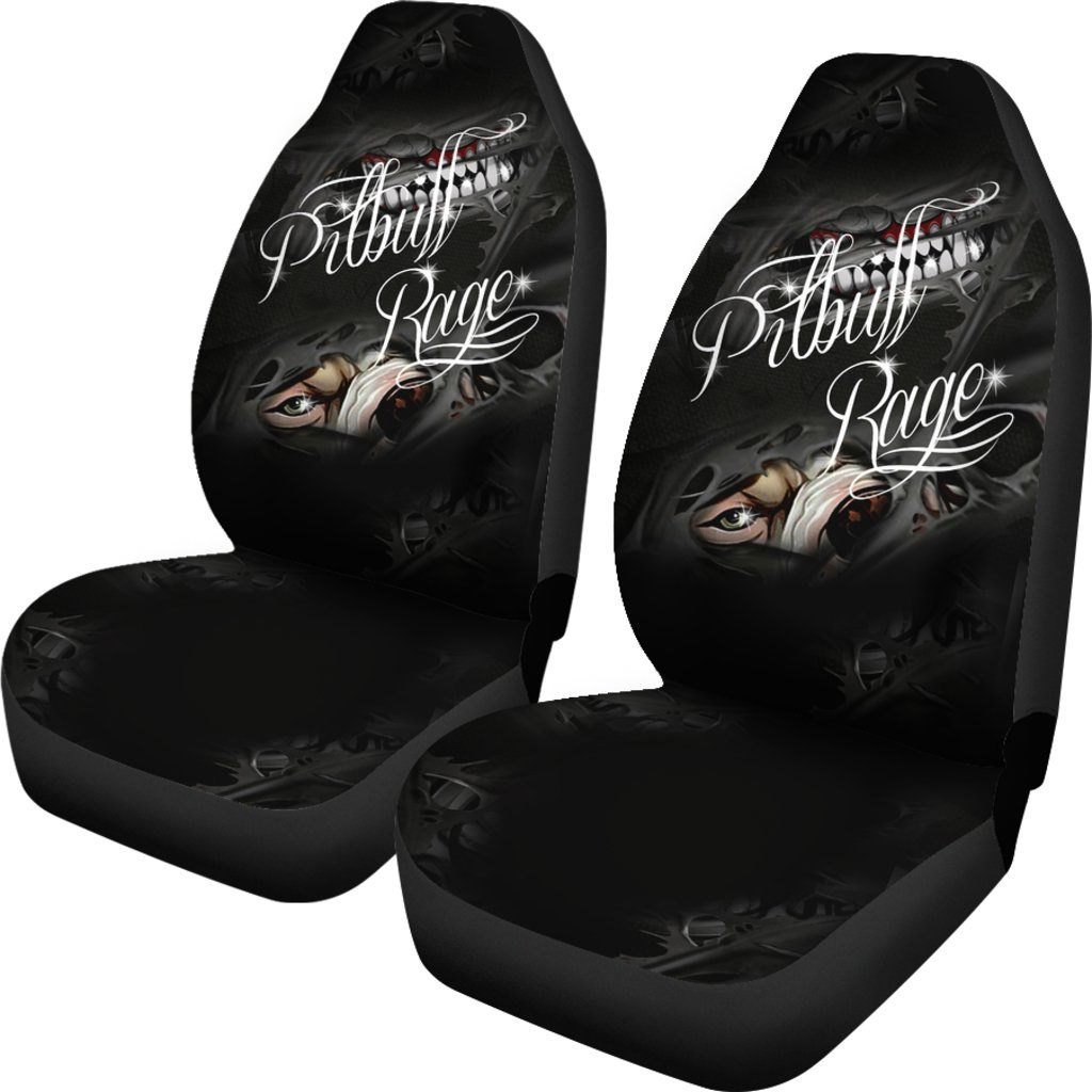 Pitbull Dog Rage Themed Car Seat Covers (SET OF 2)
