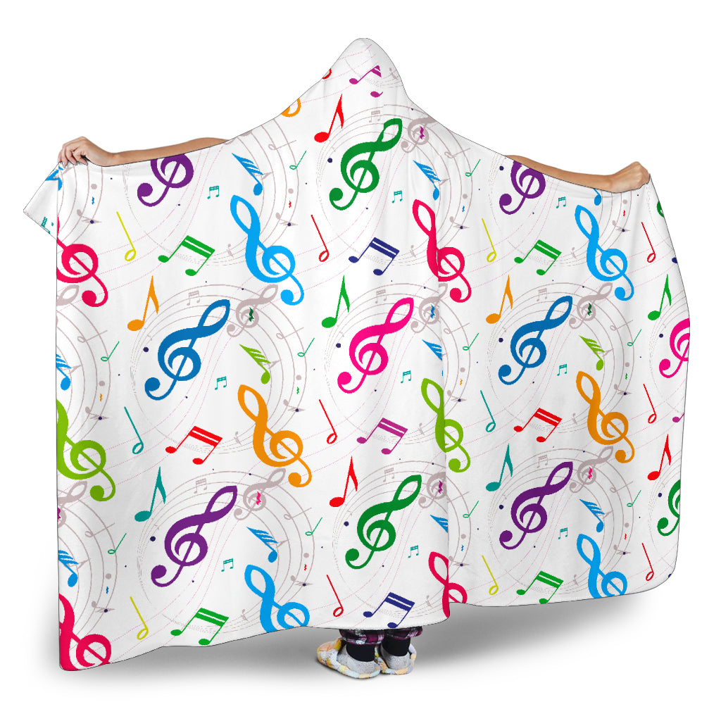 Colorful Music Notes Themed Hooded Blanket