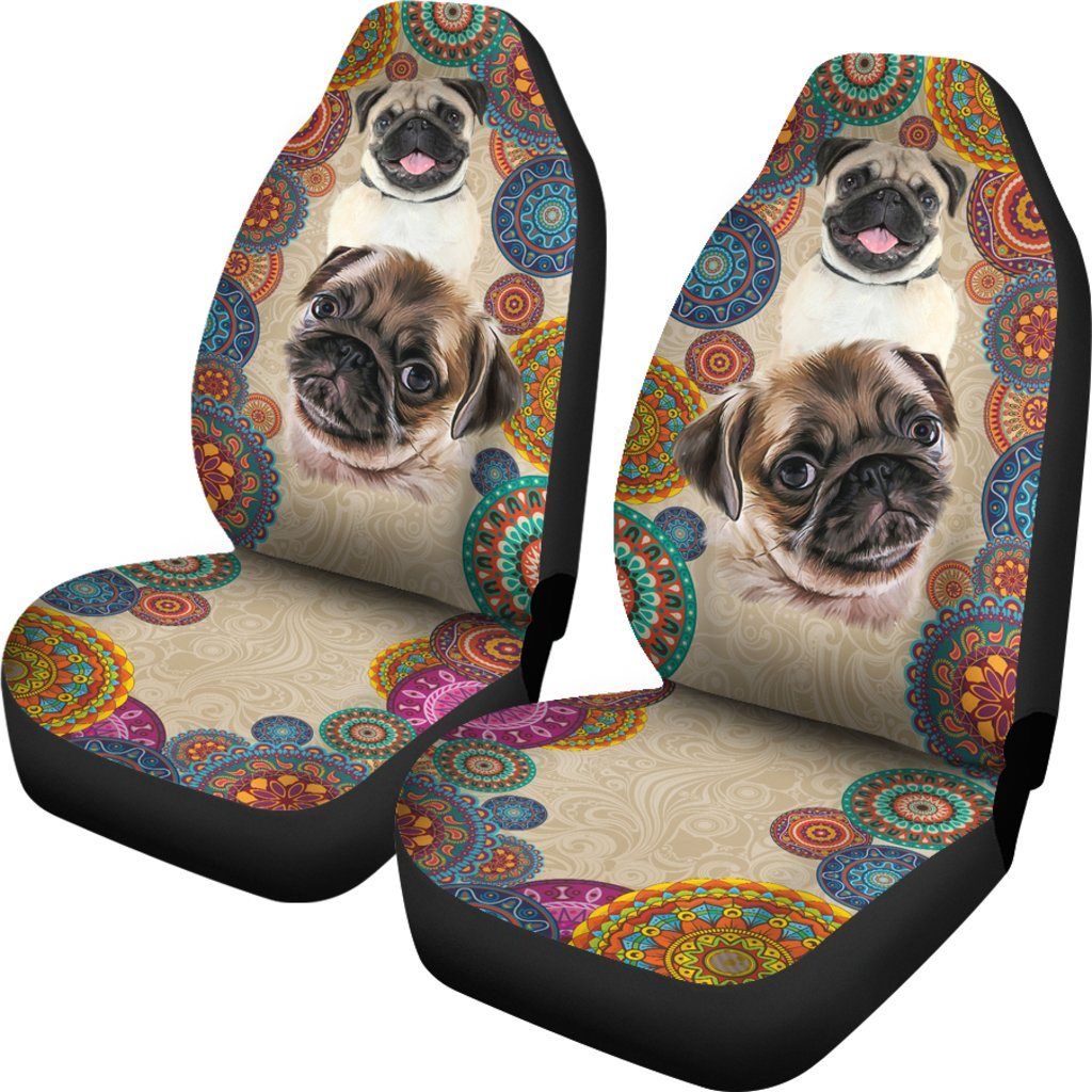 I Love My Pug Dog Themed Car Seat Covers (SET OF 2)