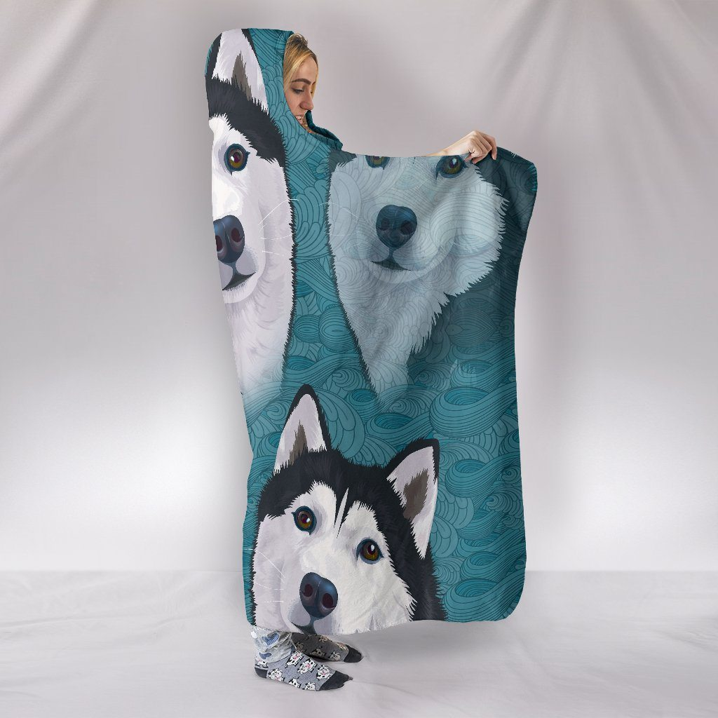 Blue Husky Themed Hooded Blanket
