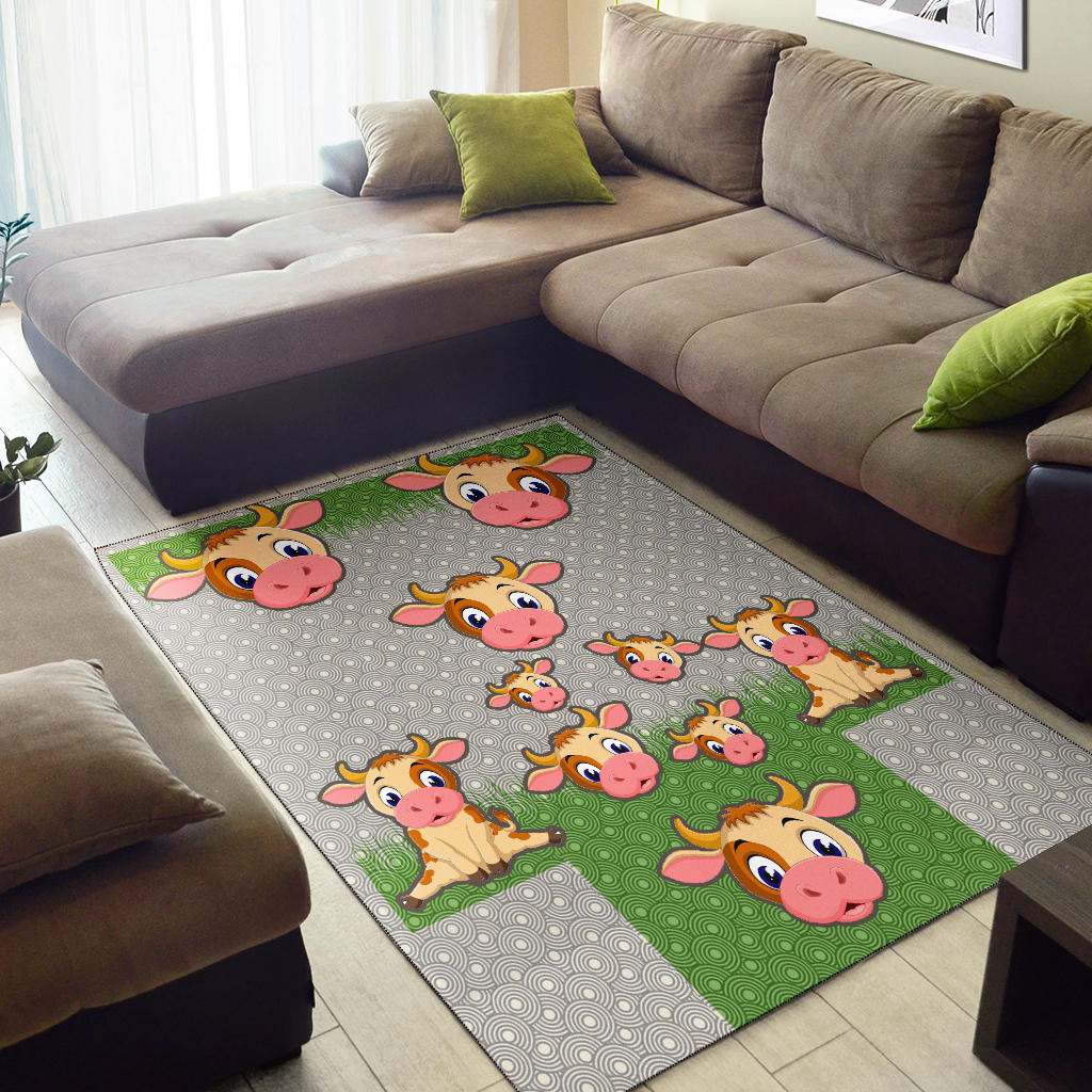 Cow and Grass Area Rug