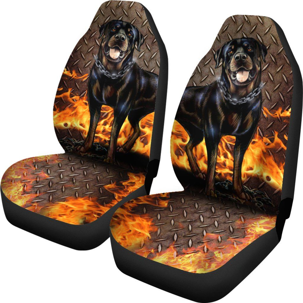 Rottweiler Dog Love Themed Car Seat Covers (SET OF 2)